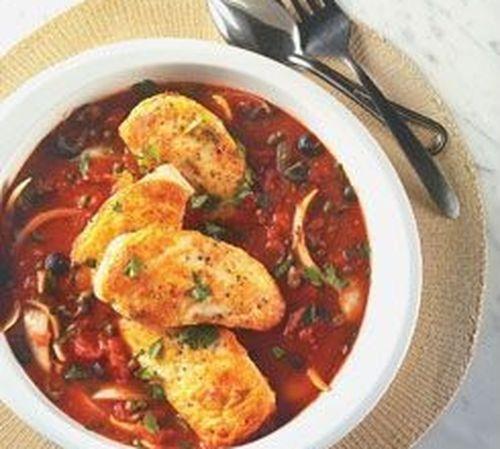 Цыпленок по-итальянски с оливками и каперсами